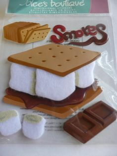 SMORES - Camping treats, Summer Camp, Hiking, Ghost Stories around the campfire! Scrapbooking layout ideas & supplies! DIY - Jolee's Boutique Scrapbooking stickers by ExpressionsofFaith.etsy.com, $2.99