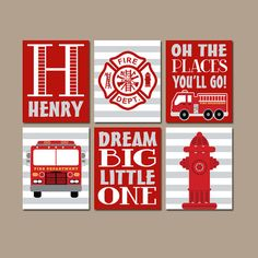 Fire truck room decor wall art canvas or prints baby boy nursery navy red bedroom decorations . Fireman Nursery, Fireman Room, Firefighter Bedroom, Firefighter Baby, Fire Truck Bedroom, Fire Truck Nursery, Big Boy Bedrooms, Boys Bedroom Decor, Bedroom Wall