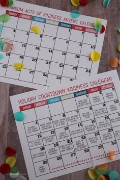 Kindness Countdown Calendar - make the holidays really special this year by getting your family involved in random acts of kindness.