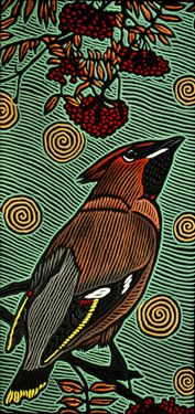 "waxwing painted woodcut block on salvaged Douglas Fir 9"" x 12"" x 1.5"" 2010 © Lisa Brawn"