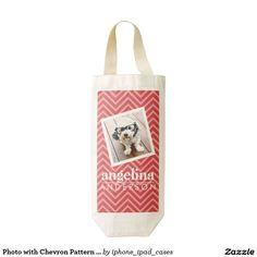 Photo with Chevron Pattern and Custom Name Zazzle HEART Wine Bag