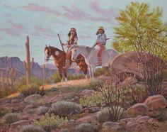 "Indian Painting : Ron Stewart Painting, Western Artist, ""Arizona Evening"",Original, Oil Painting, Indians on Horseback. Ron Stewart Fine Art, #156"