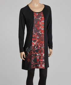 Another great find on #zulily! Black & Red Floral Panel Dress - Women by Coline USA #zulilyfinds