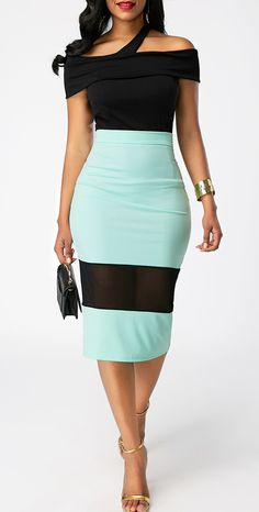 Off the Shoulder Top and Color Block Skirt,  dressy dress for fall, check it out at rosewe.com, free shipping worldwide and high quality.