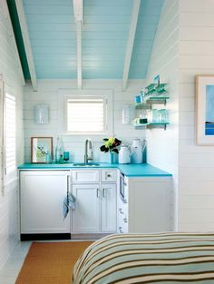 Tiny Cottage Kitchen - I'd prefer little 2 burner stove to the microwave for an apt but for a guest room this is good.