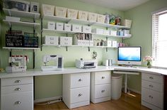 Wrap around desk ideas perfect for my sewing room/craft room/ office Sewing Spaces, My Sewing Room, Sewing Rooms, Sewing Room Organization, Craft Room Storage, Organizing Paperwork, Craft Room Shelves, Budget Organization, Book Shelves