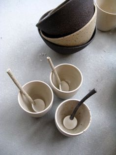 From the Rock collection.  Earth tones and basics.  High fired stoneware cups, spoons and bowls