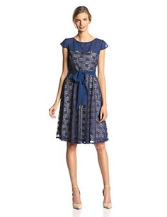 Julian Taylor Women's Short Sleeve Sequin Lace Belted Fit and Flare Dress, Sapphire/Beige, 12Sapphire/Beige Julian Taylor Eliza J Skirt 53123M   Escatra Fashion: Dress With Us