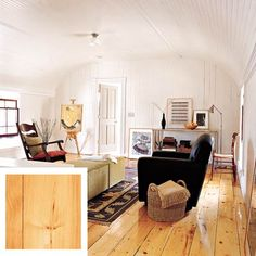 Wide, knotty white pine planks complement the rustic beadboard wall and ceiling paneling. 8⅞-inch unfinished planks, similar to shown, about $1.70 per sq. ft. | Photo: Tim Bell | thisoldhouse.com