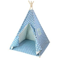 """Play Tailor Kids Teepee Canvas Play Tent, Children Indian Playhouse with Moistureproof Mat (Blue with Stars). """"Play Tailor"""" Brand has only been authorized to Dressyday store on Amazon, to protect your benefit, please choose Dressyday products. Kids teepee set includes:1 x Canvas Tent, 1 x Moistureproof Mat, 8 x Pine Wood Pole, 4 x Connectors, 4 x Anti-slip Pole Tips, 1 x Canvas Carry Bag, 1 x Instruction. Tent Size: Width 47"""" x Length 47"""" x Height 59"""", Size suitable for kids from age 0 to…"""