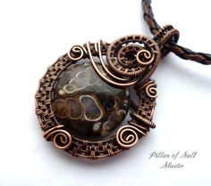 Copper and Turritella agate Wire wrapped pendant, woven wire, Wire Wrapped jewelry by PillarOfSaltStudio