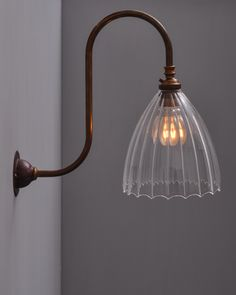 The Ledbury ribbed Swan Neck Wall light is simple yet beautiful, hand curved and blown in the UK and named after the pretty market town in Herefordshire This wall light is an exclusive design hand made in our workshop Victorian Wall Lighting, Victorian Wall Sconces, Industrial Wall Lights, Vintage Wall Lights, Victorian Bath, Victorian Bedroom, Victorian Decor, Outdoor Wall Lighting, Bedroom Lighting