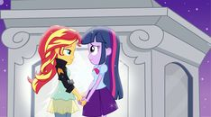 #937743 - artist:xebck, bowtie, clothes, dead source, equestria girls, female, hilarious in hindsight, holding hands, jacket, korrasami, leather jacket, lesbian, portal, reference, safe, shipping, skirt, sparkles, sunset shimmer, sunsetsparkle, the legend of korra, twilight sparkle, vector - Derpibooru Twilight Sparkle Equestria Girl, Mlp Twilight, Lgbt, Yuri, My Lil Pony, Bug Art, Equestrian Girls, Mlp Comics, Little Poney