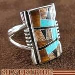 Genuine Sterling Silver Turquoise Tiger Eye and Multicolor Inlay Ring