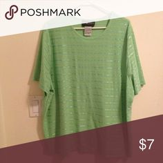 Light Green Plus Size Short Sleeves Shirt Cute light green plus size shirt with shiny threaded design. Used but, in great condition! 70% polyester, 30% cotton. Short sleeves and perfect for any weather! Sag Harbor Tops