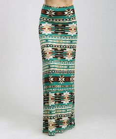 Another great find on #zulily! Green & Tan Tribal Maxi Skirt - Women #zulilyfinds