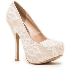 Qupid Onyx Lace Platform Pump ($25) ❤ liked on Polyvore featuring shoes, pumps, heels, high heels, white, white shoes, white lace pumps, white pumps, round toe pumps and white slip on shoes