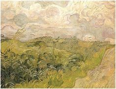 Vincent van Gogh - Green Wheat Fields, Auvers - 1890 - Collection of Mr. Paul Mellon, National Gallery of Art, Washington, DC. Arte Van Gogh, Van Gogh Art, Art Van, Van Gogh Paintings, Paintings I Love, Landscape Art, Landscape Paintings, Landscapes, Impressionist