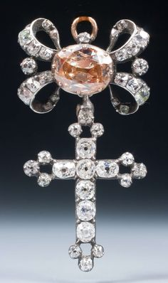 A very fine late 18th century old cut diamond cross pendant, designed as a…