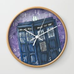 Swirling Purple Galaxies Tardis Clock  color of clock hands and frame can be customized.