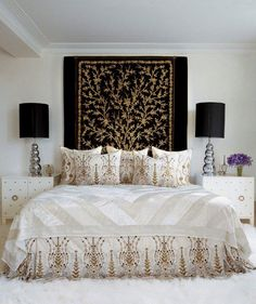 Love it when he uses trees but still keeps such clean lines. The cream bedskirt finishes the line perfectly, even as fancy as it is. Martyn Lawrence Bullard Interiors