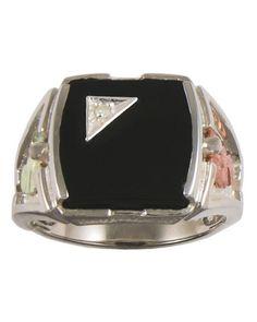 Black Hills Gold Men's Sterling Silver Onyx & Diamond Ring - http://www.loveuniquerings.com/mens-gold-rings/black-hills-gold-mens-sterling-silver-onyx-diamond-ring/