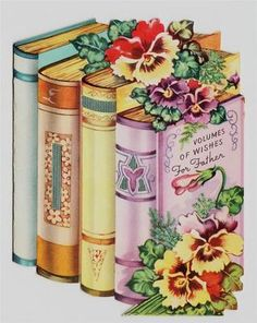 Vintage Beautiful Books and Pansies Father Birthday Greeting Card Decoupage Vintage, Decoupage Paper, Vintage Ephemera, Vintage Books, Vintage Paper, Vintage Postcards, Vintage Pink, Greeting Card Book, Vintage Greeting Cards