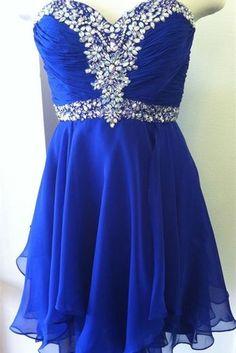 Top Selling Royal Blue Short Prom Dresses,Sweetheart Beaded Homecoming Dresses,Graduation Dresses