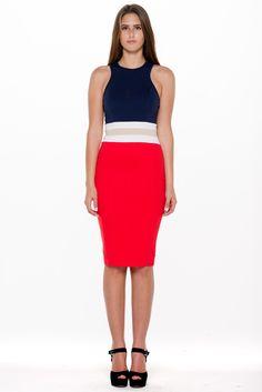 (alm) Block colors racer back midi red dress
