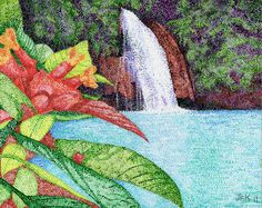 """Kawasan Falls Cebu Philippines by jfkpaint The technique is called """"Pointillism"""".  Putting different colors of dots close to each other to create a """"blend"""" in the eye. Pioneered by a French artist named Georges Seurat."""