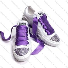 Pure White Converse With Purple Swarovski Crystals Toe s - Purple Swarovski Crystals Side s - Can be Customized with Name and Date See Example Photo