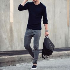 Black sweater gray jeans and #slipons  by /marcelfloruss/ [ http://ift.tt/1f8LY65 ] #royalfashionist @marcosdeandradeofficial