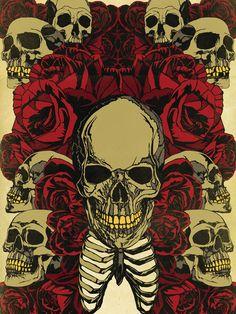 18 X 24 Roses and Skulls Graphic Print by MattPepplerArt on Etsy, $30.00