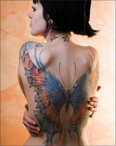 im not a huge fan of wings tattooed on the back but if ur gonna do then thats the way to go! betterfly