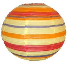 "16"" Color Strips Chinese Japanese Paper Lantern  Diameter: 16""  Expanding with a metal frame  Bulb and cord are not included  http://www.justartifacts.net/16quot-color-strips-chinese-japanese-paper-lante16.html  Regular Price : $1.98"