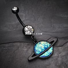 Blackline Opal Galaxy Planet Belly Button Ring
