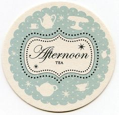 Tea party invitation on a coaster.    I would like to attend or host a super cutesy tea party...