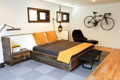 ELISE- Reclaimed Wood Bed with Upholstered Headboard and Nightstands