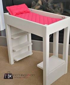 diy loft bed for american girl or other 18 dolls scrap wood leftover paint and a few bits of material for a grand total of 16 Casa American Girl, American Girl Furniture, American Girl Doll Bed, Girls Furniture, American Girl Crafts, Barbie Furniture, American Girls, Dollhouse Furniture, Furniture Ideas