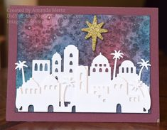 """Amanda Mertz: Did You Stamp Today?: """"Night Sky Over Bethlehem - Stampin' Up! Night in Bethlehem"""" - (Pin Background: Watercolor. Christmas Cards 2017, Stamped Christmas Cards, Religious Christmas Cards, Holiday Cards, Bethlehem, Wink Of Stella, Paper Stars, Homemade Cards, Night Skies"""