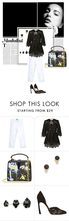 """""""Black and White Love"""" by modalist ❤ liked on Polyvore featuring Oris, M.i.h Jeans, Zimmermann, Maria Brito, Atelier Mon, Kendra Scott and Giambattista Valli"""