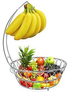 Fruit Basket With Banana Hanger | Wire fruit basket, Hanger and Woodwork