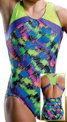 Sparkling Abstract Rainbow Holographic Foil Colorblocked Racerback Leotard