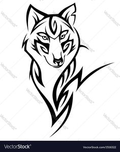 Wolf tribal tattoo black isolated on white. Download a Free Preview or High Quality Adobe Illustrator Ai, EPS, PDF and High Resolution JPEG versions.