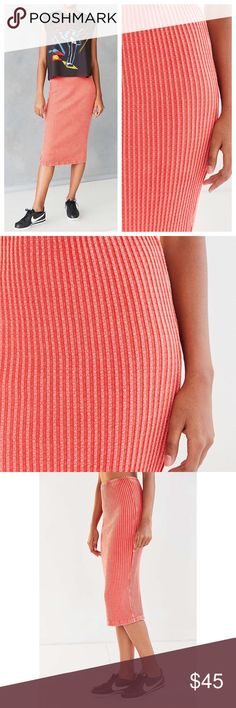 NWT UO Ribbed Sweater Midi Skirt in Coral Brand new with tags. Cute and comfy. Large fits sizes 10/12. Medium 6/8. Small 2/4. XS 00/0/1. Smoke free pet friendly - color varies between indoor and outdoor lighting  ✅ Bigger Bundle = Bigger Discount! ✅ Reasonable Offers Considered! ✅ Posh Compliant Closet 🚫Trades or Lowball Offers Urban Outfitters Skirts Midi