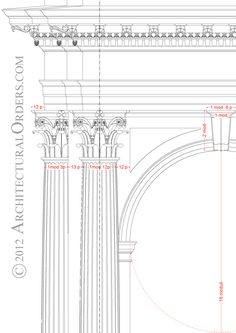 Corinthian Order: entablature, capital and arch detail Data Architecture, Ancient Greek Architecture, Roman Architecture, Architecture Graphics, Classic Architecture, Architecture Drawings, Architecture Details, Corinthian Order, Joinery