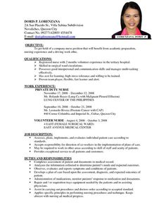 resume sample format for job application