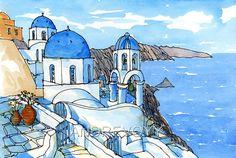 Santorini Oia 3 Greece art print from an original by AndreVoyy, $15.00