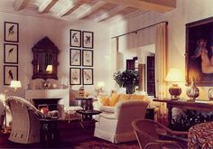 """The living room of Ain Kassimou, the Marrakech home of Marella Agnelli, with those amazing antique Parrot hand colored drawings.  I love how this room has a classic casual feel suitable to any elegant retreat, with nods to its locale, such as the exotic birds and mirror, but does not go into overdrive on the """"theme"""". Take note beach house owners.  Photo by Eric Boman.  #marellaagnelli #lovewicker #timelesselegance #styleandsubstance #marrakech #icon #casualelegance #parrots"""