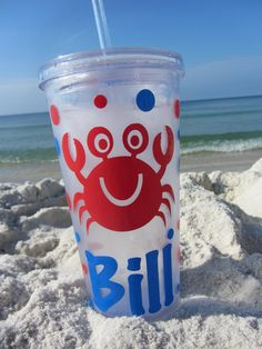 Personalized Acrylic Tumbler - crab design - party favor - beach - pool - family reunions - many designs - 16 ounce size